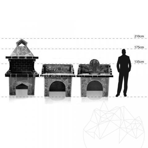 Gratar Gradina 'Mare' cu sistem grill - Placat cu piatra poligonala