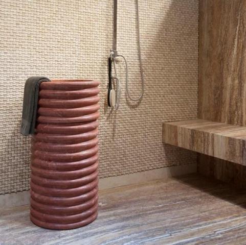 Chiuveta baie travertin Rosu SP-23, 42 x 83 cm