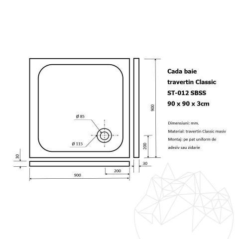 Cada baie travertin Classic ST-012 SBSS - 90 x 90 x 3 cm