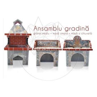 Ansamblu Gratar Gradina Family - Placat cu piatra naturala poligonala